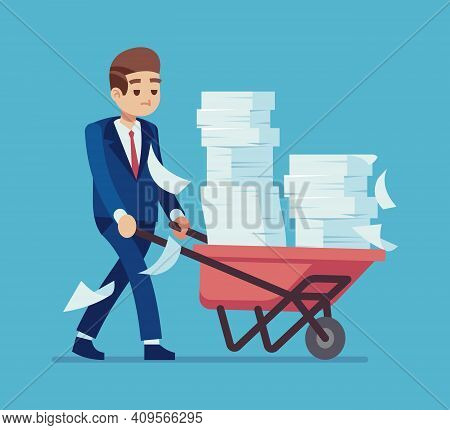 Businessman With A Pile Of Papers. Cartoon Man Carrying Cart With Stacks Of Documents, Time Manageme