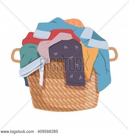 Dirty Clothes. Apparel Heap With Stains In Basket, Different Soiled Smelly Pile Of Fabric Old Shorts