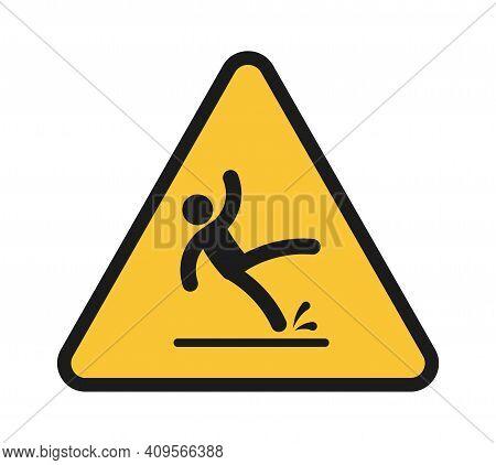 Falling People. Person Injury Slipping On Wet Floor. Triangular Yellow Warning Sign, Unbalanced Man