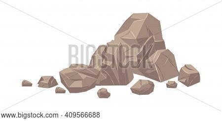 Stone. Cartoon Heap Of Heavy Cobbles. Solid Natural Building Material Or Mountain Landscape Element.