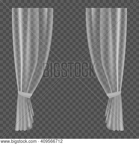 Transparent Curtains. Lightweight Clear Drapery Textile, Hanging Wave Satin Or Silk Curtain, Fabric