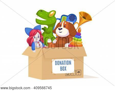 Donation Cardboard Box. Volunteer Community Support Poor Families And Orphans, Kids Toys And Games,