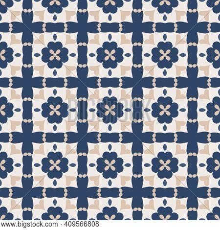 Seamless Pattern From Square Ceramic Tiles. Geometric Pattern With Hearts, Flowers And Leaves. Portu