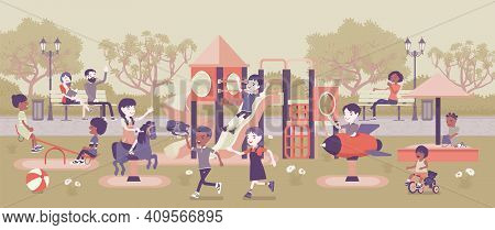Kids Playing In The Playground, Fun And Leisure Outside. Physically Active Happy Children Spend Free