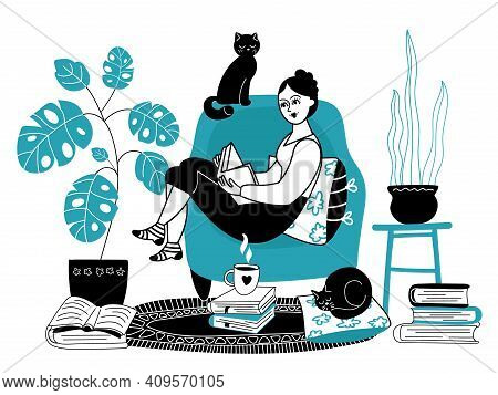 Girl Reading Books. Woman Read Book, Female Character Relax On Sofa. House Time, Teens Stay Home And