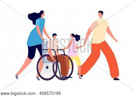 Handicapped Kids In Family. Disability Activity, Disabled Child With Sister And Parents. Accessible