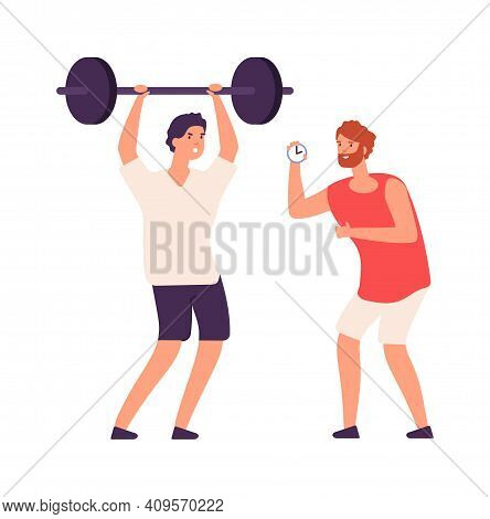Personal Training. Fitness Male Coach And Bodybuilder. Cartoon Training Or Workout Vector Concept. I
