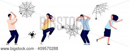 Arachnophobia. People Irrational Extreme Fear Spiders. Cobweb And Insects, Man Woman In Panic Or Str