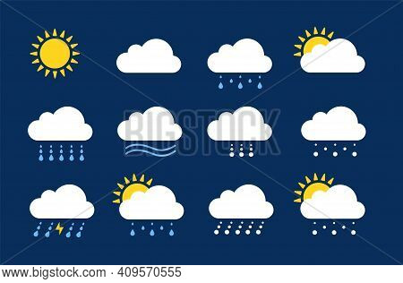 Weather Icons. Season Climate, Precipitation Rain And Snow. Flat Meteo Report Or Forecast Elements.