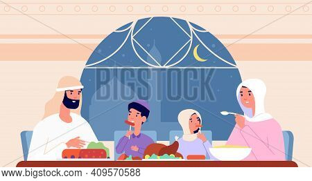Family Ramadan Dinner. Arab Eat, Gathering At Home For Iftar Party. Arabic Parents And Children, Sau