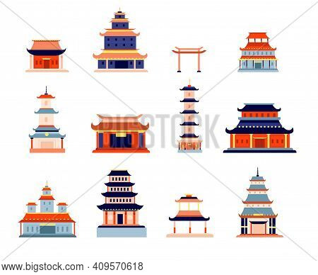 Chinese Buildings. China Town, Temple Culture Symbol Design. Asia Architecture, Ancient Pagoda, Japa