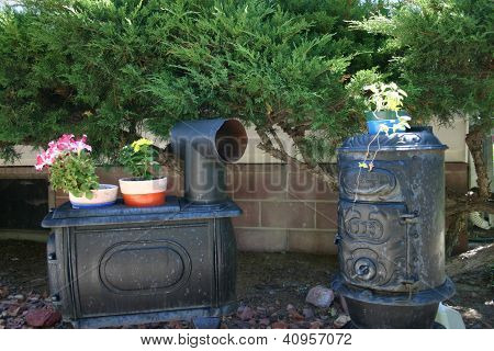 Old stoves as decorations