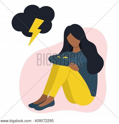 Black Woman In Bad Mood Concept: Anxiety, Sadness, Loneliness, Depression, Stress. Sitting Black Wom