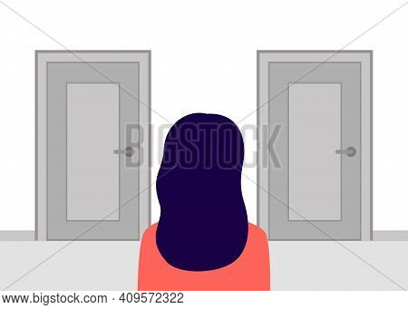 Woman Stands In Rear View Of Closed Doors And Has Choice. Alternative Doorway. Choice Concept. Vecto