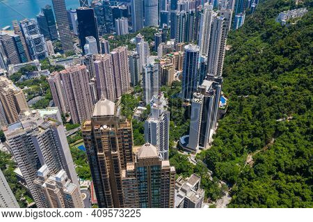 Central, Hong Kong 15 July 2020: Top view of Hong Kong city