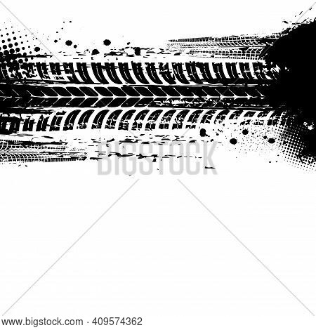 Tracks Of Tyre, Tire Print Traces And Bike Drift Treads, Vector Dirt Wheels Background. Car Races, M