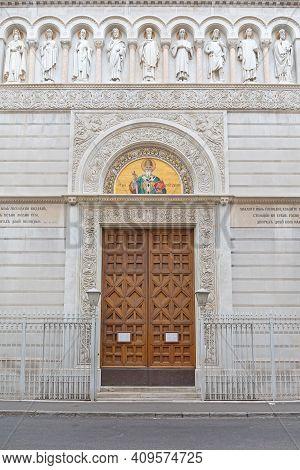Trieste, Italy - January 12, 2017: Entrance To Serbian Orthodox Christian Church Of Saint Spyridon I