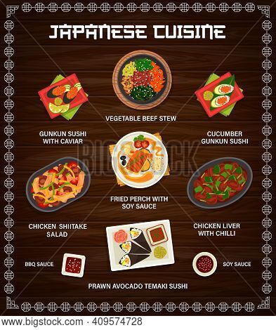 Japanese Cuisine Vector Menu Gunkun Sushi With Caviar Or Cucumber, Vegetable Beef Stew And Chicken S
