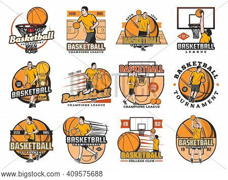 Basketball Tournament, College Club Or League Championship Icons Set. Caucasian Basketball Player Dr