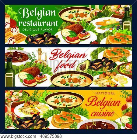 Belgian Cuisine Vector Banners With Restaurant Dishes Of Meat, Seafood And Vegetable. Potato Tuna Sa