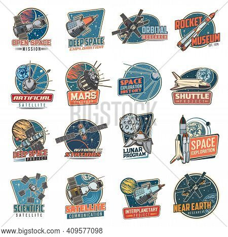 Space Vector Retro Icons Mars Mission, Rocket Museum And Near Earth Orbital Station, Moon Program, A