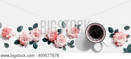 Coffee With Pink Roses Overhead View - Flat Lay