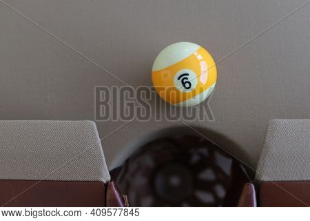 Billiard Ball (pool Ball) On American Billiards (american Pool) While Checking The Playing Surface A