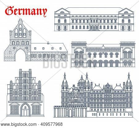 Germany Landmark Buildings Icons, Cathedral Church Architecture Of Mecklenburg Vorpommern Cities, Ve