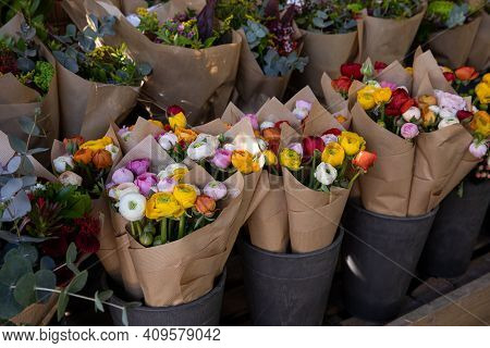 Colorful Persian Buttercup Flowers Or Ranunculus Asiaticus Bouquets In A Greek Flower Shop.
