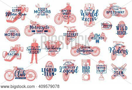 Motorsport Racing And Biker Club Lettering Icons Set. Retro Chopper, Speedway And Motocross Motorcyc