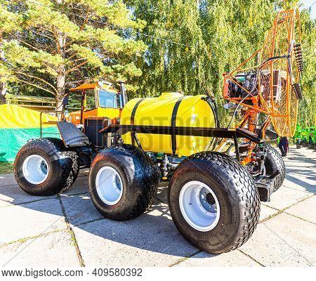 Samara, Russia - September 23, 2017: Modern Agricultural Machinery At The Annual Volga Agro-industri