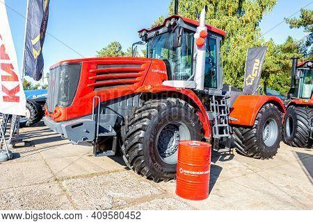 Samara, Russia - September 23, 2017: Modern Agricultural Wheeled Tractor Kirovets K9450 Exhibited At