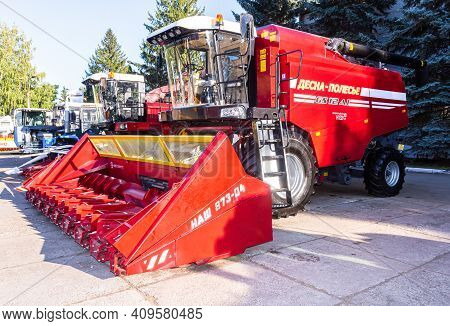 Samara, Russia - September 23, 2017: Modern Agricultural Machinery. Combine-harvester Desna-polesye