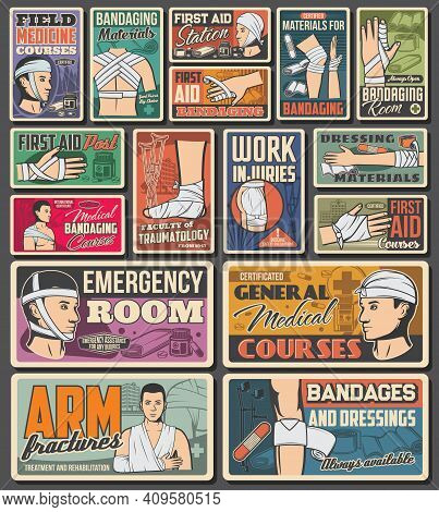 Bandage, Emergency Aid Medicine Retro Vector Banners. Medical Assistance And Traumatology Clinic War