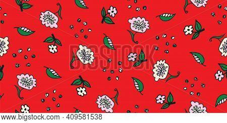 Flowers And Seeds Doodle Seamless Vector Pattern. Bright Girly Surface Print Design For Fabrics, Sta