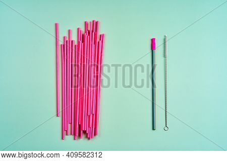 The Modern Trend Towards Caring For The Environment. A Pack Of Pink Plastic Beverage Straws Versus O