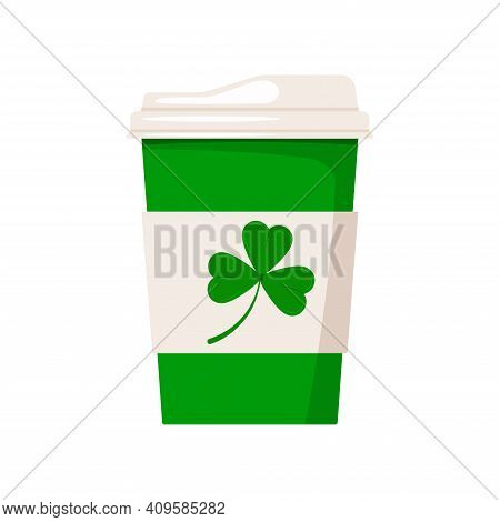 St Patrick Day Coffee Cup With Shamrock. Hot Drink Coffee Or Tea Take Away Cafe Mug With Good Luck I