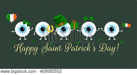 St Patrick Cute Eye Balls On Greeting Card. Ophthalmology Eyeball Irish Character With Horseshoe, In
