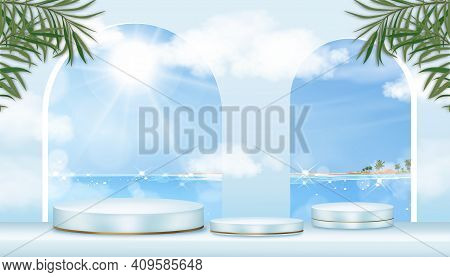Showcase Display With Tropical Seascape Of Blue Ocean And Island Background,vector 3d Realistic Podi