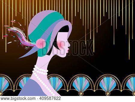 Portrait Of Flapper Girl With Hat. Art Deco, Retro Party, Vintage Woman 1920 Style,  Invitation Temp