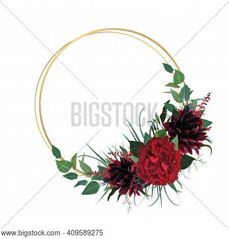 Modern Stylish Watercolor Style Wedding Invitation, Invite, Save The Date, Banner, Greeting. Burgund