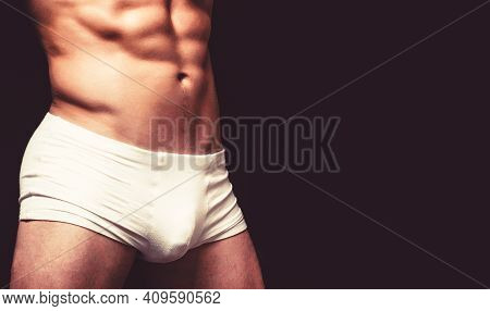 Male Muscular Body In White Sexy Underpants. Handsome Muscular Macho In White Underwear. Male Swimwe