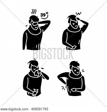 Flu Glyph Icons Set.fever.headache.muscle Or Back Aches.sore Throat.coronavirus Symptoms.health Prob