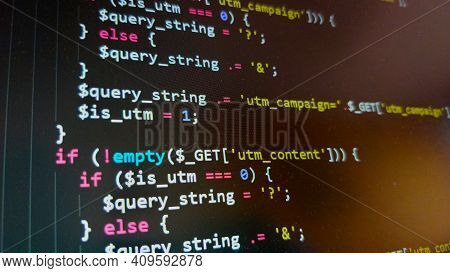 Photo Of The Laptop Screen With Coding An Php Code. The Code Is Highlighted In Some Special Programm