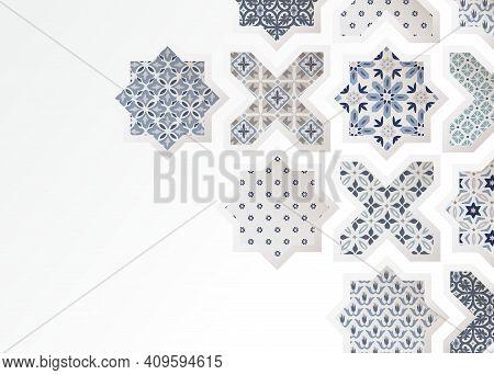 Muslim Holiday Eid Al Adha Greeting Card. Close-up Of Colorful Ornamental Arabic Tiles, Patterns Thr
