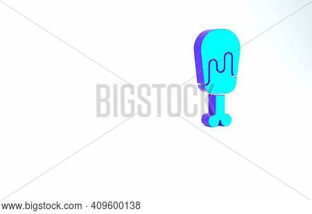 Turquoise Chicken Leg Icon Isolated On White Background. Chicken Drumstick. Minimalism Concept. 3d I
