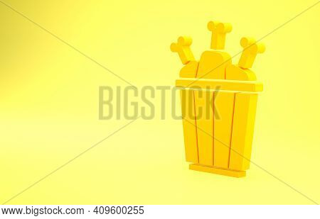 Yellow Chicken Leg In Package Box Icon Isolated On Yellow Background. Chicken Drumstick. Minimalism