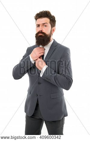 Ambitious And Handsome. Ambitious Brutal Boss Man Isolated On White. Office Life. Hipster With Beard