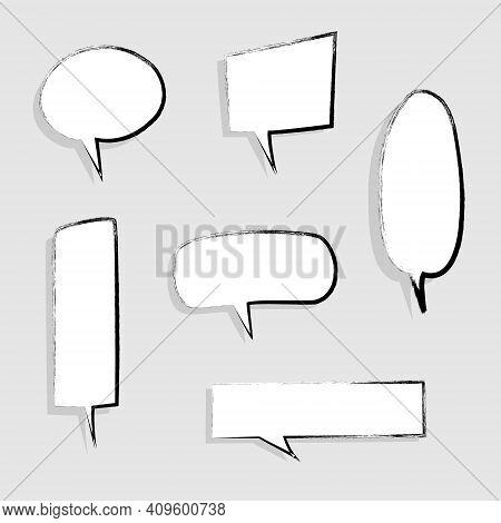 Collection Set Of Hand Drawing, Grunge, Crayon, Chalk, Blank Speech Bubble Balloon, Think, Speak, Ta