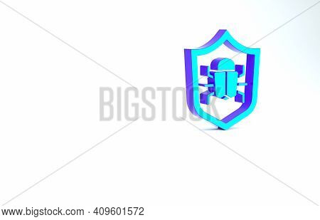 Turquoise System Bug Concept Icon Isolated On White Background. Code Bug Concept. Bug In The System.